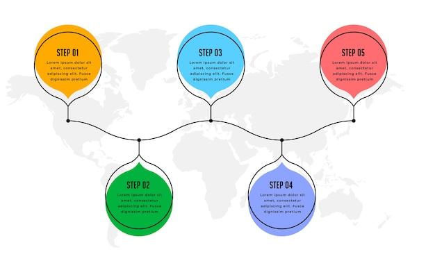 5つのステップモダンなインフォグラフィックタイムライン背景デザイン 無料ベクター