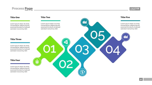 Five steps project process chart template for presentation. Free Vector