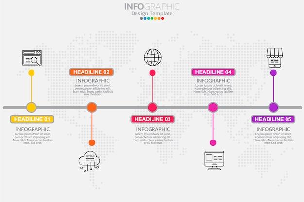 Five steps timeline infographic design vector Premium Vector