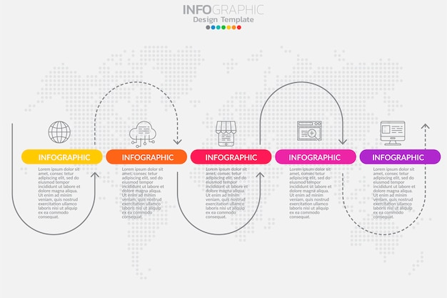 Five steps timeline infographic design vector Premium Vector