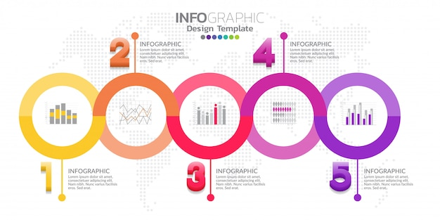 Five steps timeline infographic template design vector Premium Vector