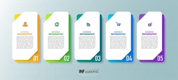 Five steps timeline infographics design Premium Vector
