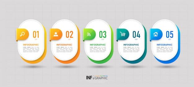 5つのステップのタイムラインインフォグラフィックデザイン Premiumベクター