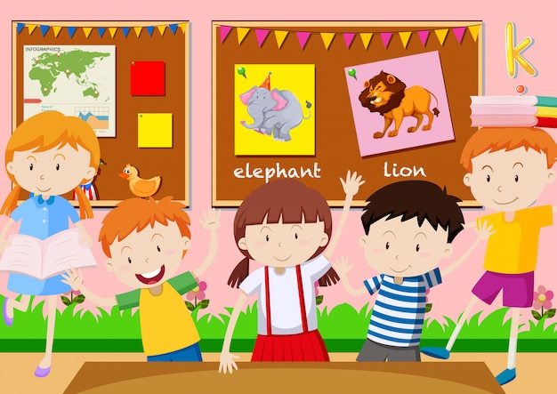 Five students learning in the classroom Vector | Free Download