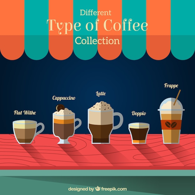 Five types of coffee in a coffee shop