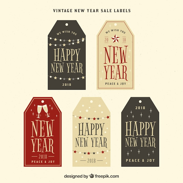 Five vintage new year tags