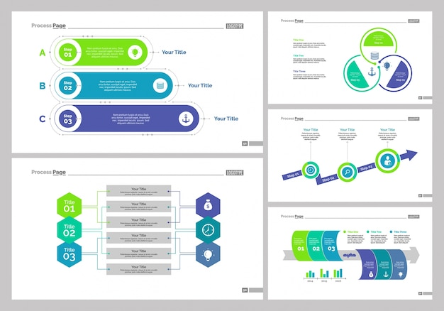 five workflow slide templates set vector free download