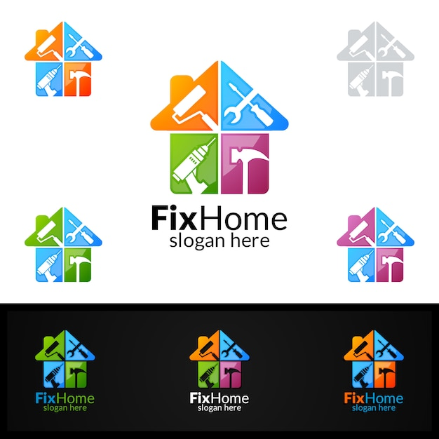 Premium Vector Fix Home Logo