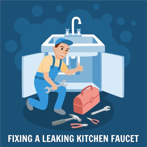 Premium Vector Fixing Leaking Kitchen Faucet