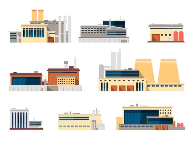 産業コンセプトの産業工場および製造工場外装flaアイコン Premiumベクター