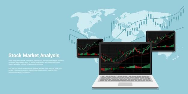 株式市場分析、オンライン外国為替取引の概念のフラットスタイルバナーイラスト Premiumベクター