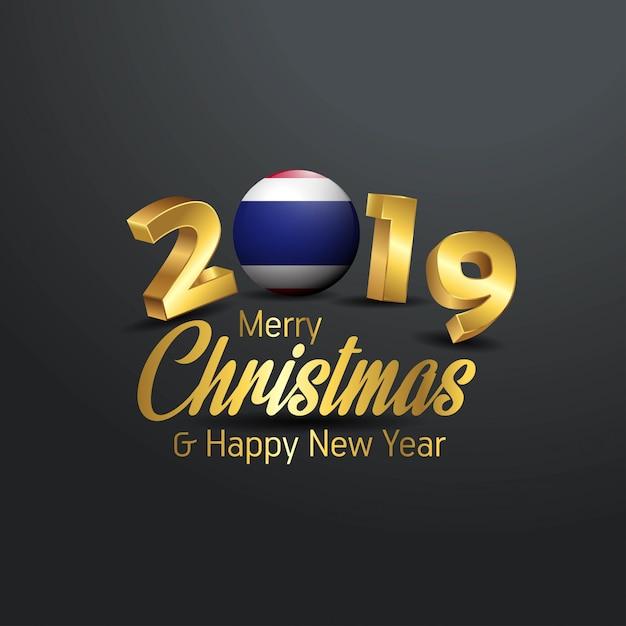 タイflag 2019 merry christmas typography Premiumベクター