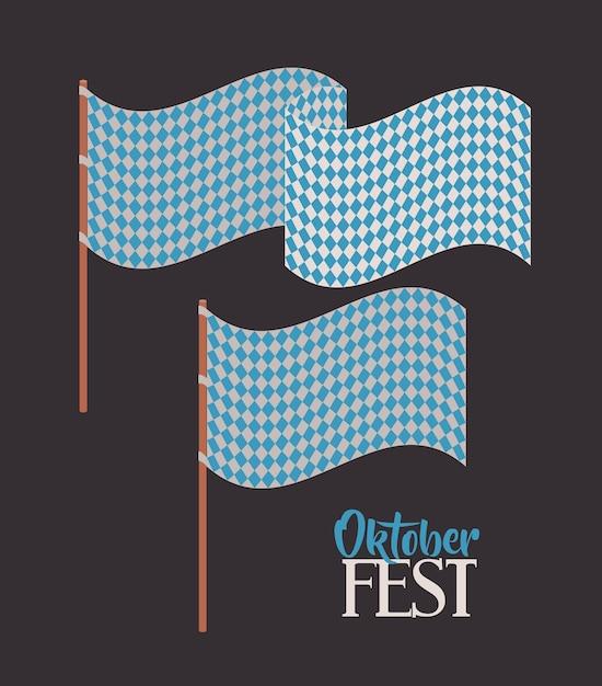 Flag blue pattern oktoberfest icon Premium Vector