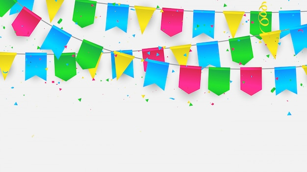 Flag confetti colorful ribbons frame. Premium Vector
