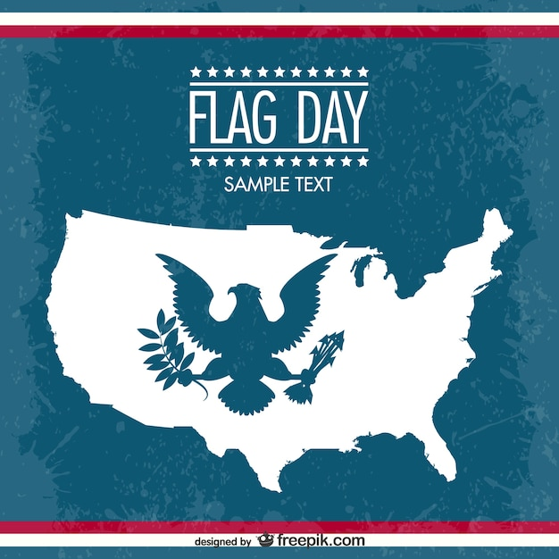 Flag day background with eagle and map\ silhouettes