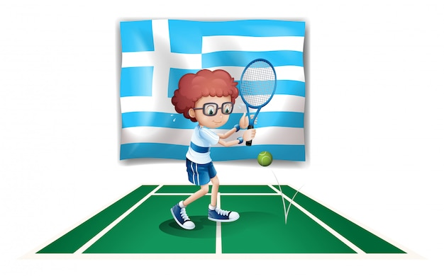 The flag of greece and the tennis player Free Vector
