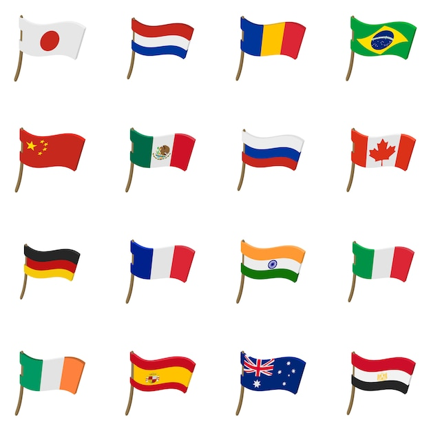 Flag icons set in cartoon style isolated Premium Vector