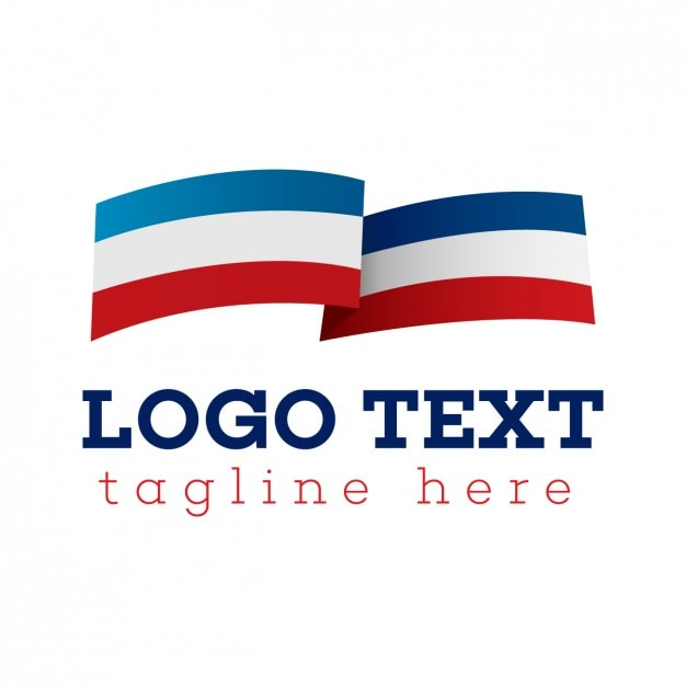 Flag logo, blue, white and red Free Vector