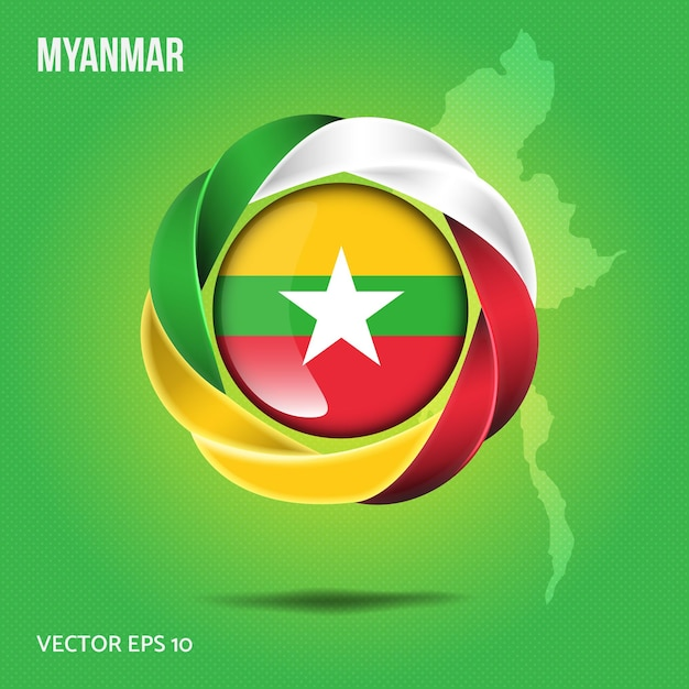 ミャンマーのピンにフラグを立てる Premiumベクター