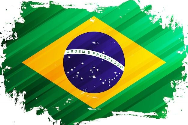 ブラジルのブラシストロークの旗。ブラジル連邦共和国の国旗。ベクトルイラスト。 Premiumベクター