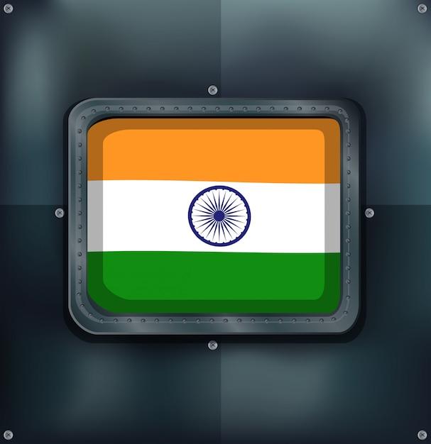 Флаг индии на металлическом фоне Бесплатные векторы