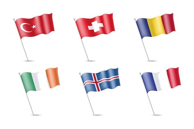 Флаг турции, ирландии, франции, исландии, румынии, швейцарии на флагштоке. векторная иллюстрация Premium векторы