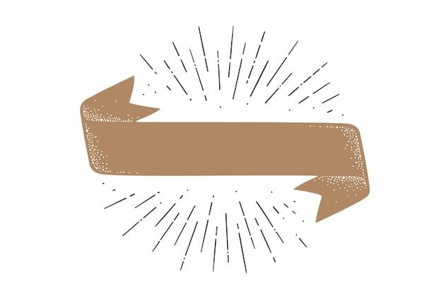 플래그 리본 템플릿. 구식 깃발 배너 템플릿입니다. 리본 플래그 프리미엄 벡터