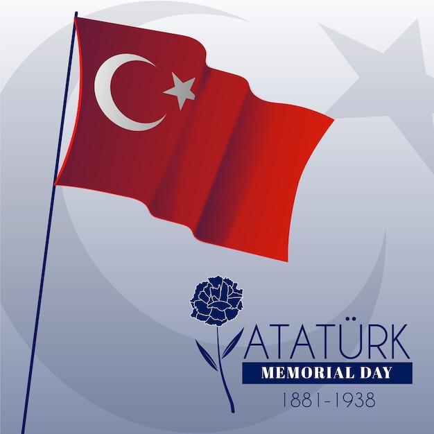 Bandiera e rosa ataturk memorial day Vettore gratuito