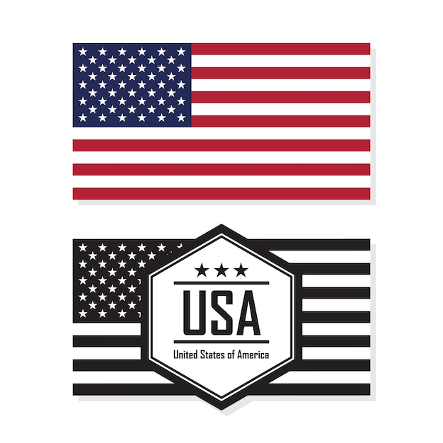 Flag of united states of america, usa. Premium Vector