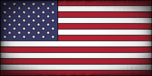 Flag of the united states in comic book cartoon style Premium Vector