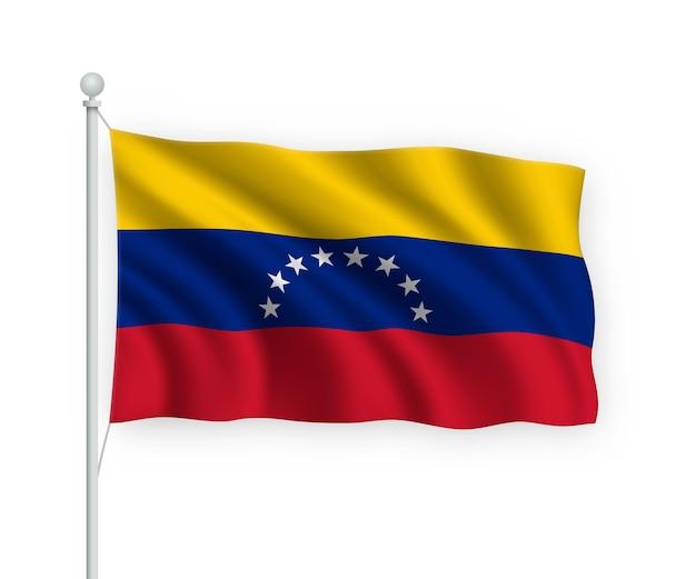 Флаг венесуэлы на флагштоке изолированного на белом Premium векторы