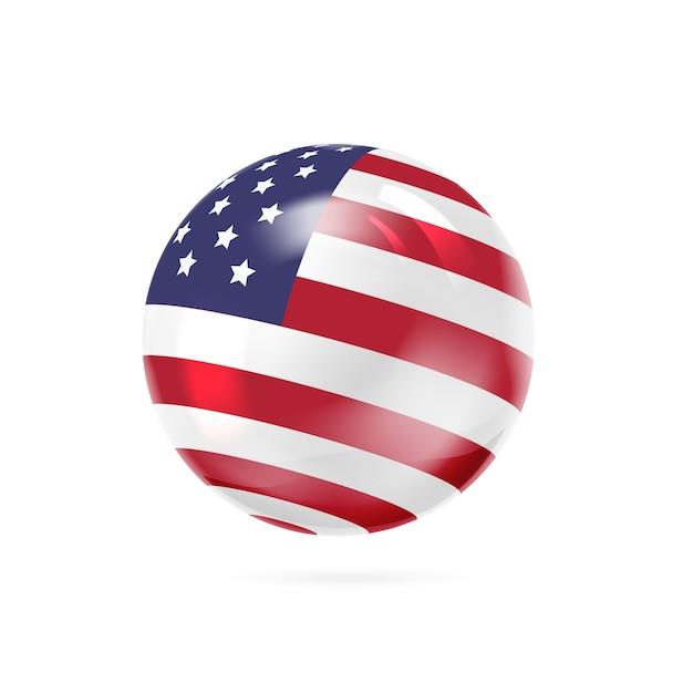 ボールの表面に赤、白、青の縞模様の旗。 無料ベクター