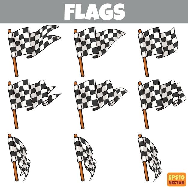 Flags collection Premium Vector