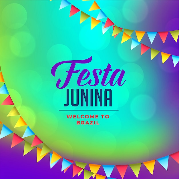 Flags decoration for festa junina background Free Vector