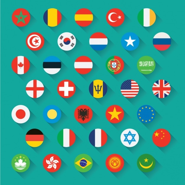 Flags icons Free Vector