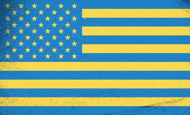 Флаги стран. украина и сша объединились. Premium векторы