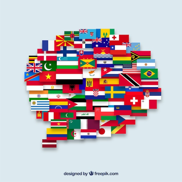 Flags of different countries in speech bubble\ shape
