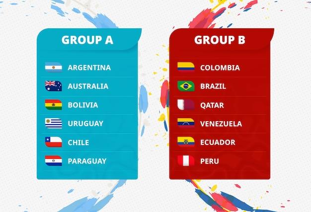 Флаги стран южной америки, австралии и катара, отсортированные по группам для футбольного турнира южной америки. Premium векторы