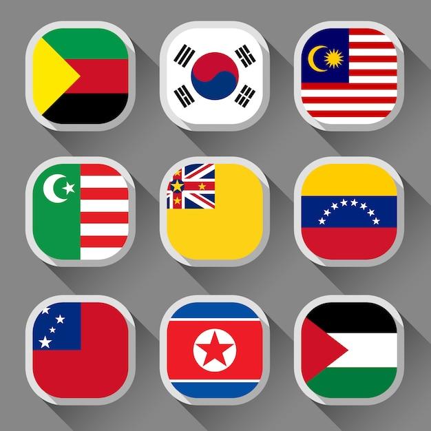 Флаги мира Premium векторы