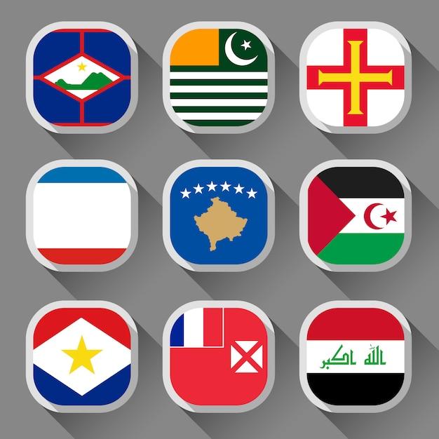 世界の国旗 Premiumベクター