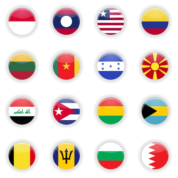 Flags set Premium Vector