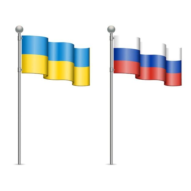 Flags of ukraine and russia Premium Vector