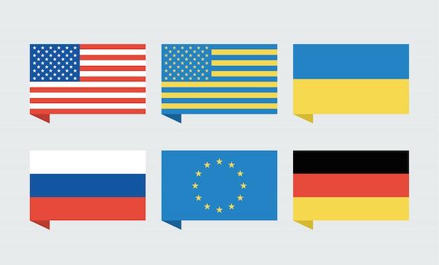 Flags of  usa, ukraine, european union, russia and germany Premium Vector