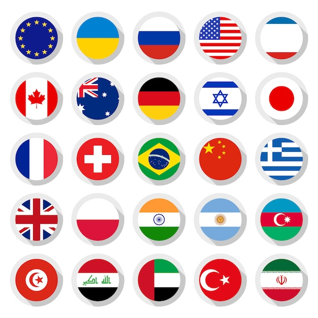 Flags of the world Premium Vector