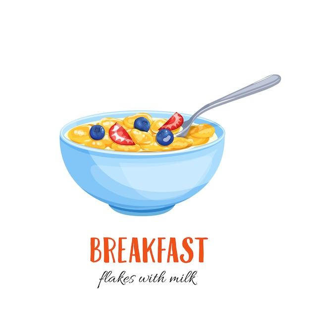 Flakes with milk and berries. Premium Vector