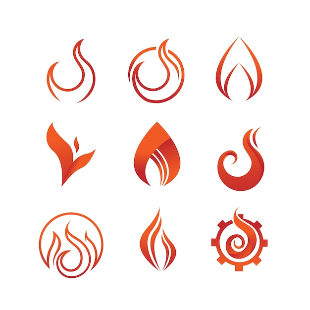 Flame And Fire Symbol Graphic Set Vector Premium Download