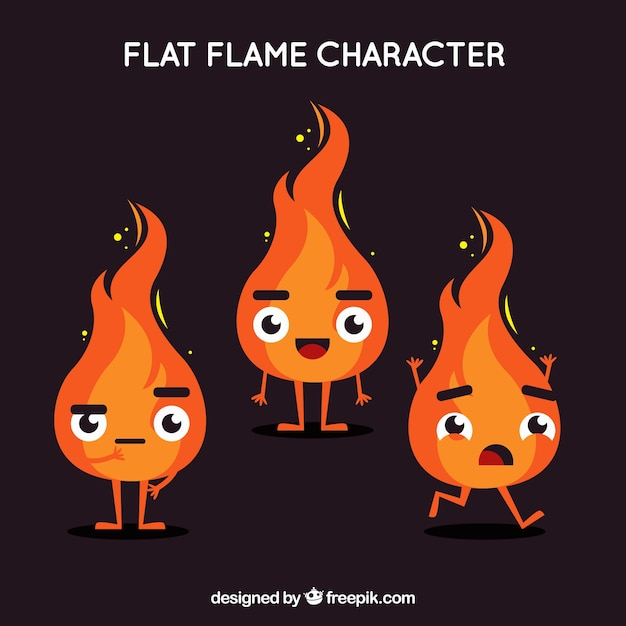 Flame characters in flat design Free Vector