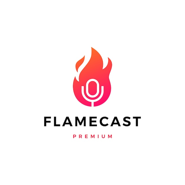 Flame fire podcast mic logo  icon illustration Premium Vector