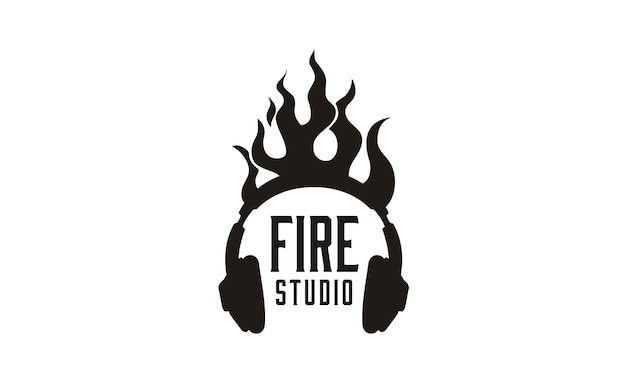 Flame headphone logo design inspiration Premium Vector