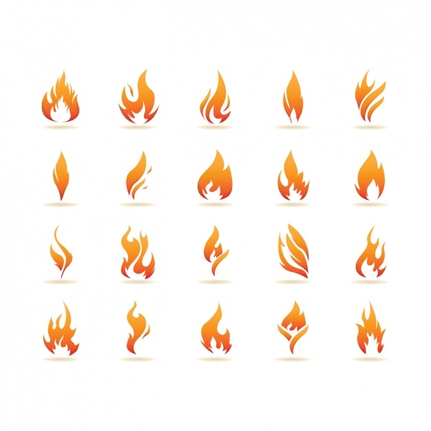 Flame icons collection Free Vector